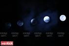 Tối qua, bầu trời Hà Nội mây khá dày nên mặt trăng lúc ẩn lúc hiện. Trong ảnh: Qua cách chụp của phóng viên chúng ta có thể thấy siêu trăng dần ló ra khỏi khu vực bị mây che khuất. Ảnh: Công Đạt