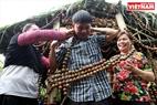 Một du khách được ông chủ vườn mận Giàng A Chô khoác chiếc khèn Mông được kết bằng những quả mận hậu.