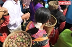 Mong girls take baskets of fresh and delicious plums from the orchards to  sell to tourists.