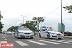 Escorting police cars.