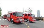 Les engins des forces de sapeurs-pompiers de la ville de Da Nang. Photo: Thanh Hoa