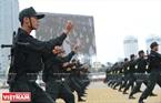 Les policiers d'intervention tactique font des démontrations d'arts martiaux à mains nues. Photo: Thanh Hoa