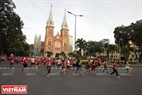 The route of the race runs through the large and modern roads of Ho Chi Minh City.