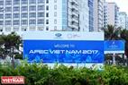 Una valla publicitaria grande de bienvenida a la Cumbre del APEC 2017. Ảnh: Thanh Hòa