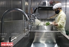 Cleaning vegetables with water pasteurised by ozone before being kept in a cold storage facility