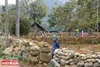 An elder stands beside a pebble fence.