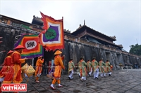 Tet pole erecting ceremony held in former royal palace
