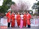 日本の伝統的な服を着てみるハノイの若者たち。