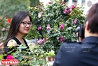 Многие молодые люди приходят на фестиваль, чтобы сделать красивые фото с розами.