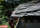 Black stone roof of an Atayal traditional house.