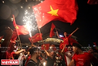 河内市民庆祝越南国家奥林匹克男子足球队的战胜