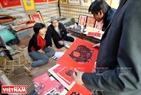 游客在2019年己亥春节书法节观看传统画。