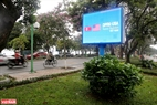 A large screen on Thanh Nien road. Photo: Thanh Giang