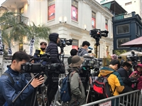 International journalists waiting for Chairman Kim Jong-un outside Melia hotel