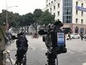 Un caméras de la radio internationale sud-coréenne  KBS News est prêts à rapporter l'événement. Photo : Trinh Bô