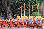 Màn biểu diễn trống hội mở màn cho Liên hoan nghệ thuật múa Rồng Hà Nội năm 2020.