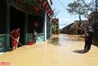 Những du khách nước ngoài lội nước qua những khu ngập nhẹ để ghi lại hình ảnh Hội An mùa nước lũ.
