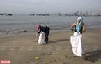 Khách du lịch tích cực nhặt rác nhựa trên bãi biển Mỹ Khê.