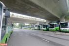 Toàn bộ các phương tiện giao thông công cộng tại Ecopark ngừng hoạt động. Ảnh: Việt Cường
