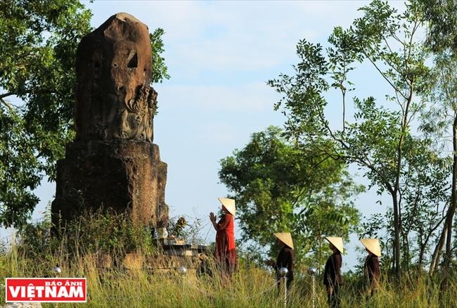 Stone pillar an exotic sculpture of Dam Pagoda