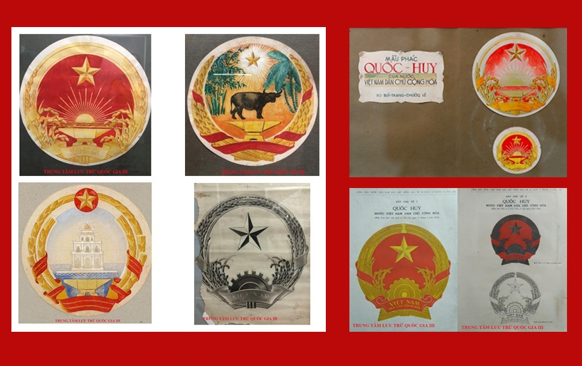 Sketches of Vietnams national emblem on display
